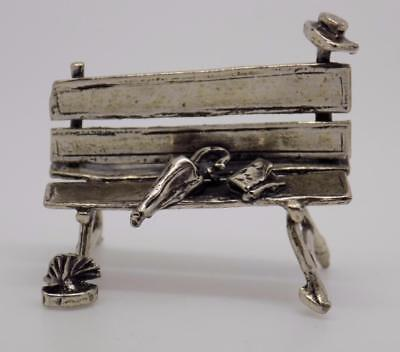 Vintage Solid Silver Bench Miniature / Figurine - Stamped - Made in Italy