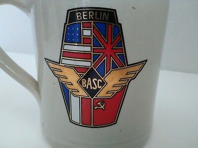 berlin basc beer stein mug black bear stoneware gray 0.5L air traffic 1990 vtg