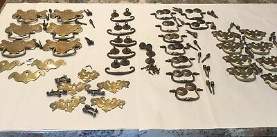 Large Lot Antique Victorian Brass Drawer Handles Pulls Hardware #2