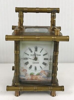 Miniature Brass Carriage Clock Bamboo Style