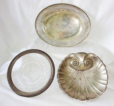 3x US Sterling Silver Mixed Platter Lot by Watrous Mfg, Whiting, Towle (Yir)