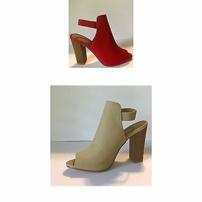 Red Nude Ankle Bootie Block Chunky Heel  Peep Toe Shoes women Sling Back Sandal