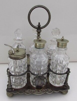 Antique English Silver Plated & Cut Glass Condiment Cruet Set On Stand