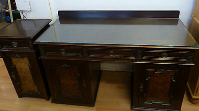 Antique 20th Century Desk with Side Cabinet - Dressing Table & Bedside