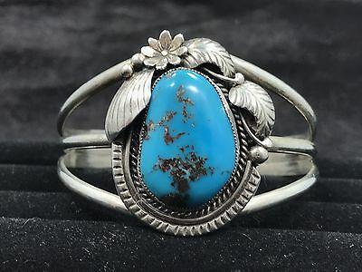 Vintage Native American Morenci Turquoise And Sterling Silver Blossom Cuff