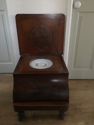 Antique Victorian Serpentine Shaped Commode With Tapestry Top And Step