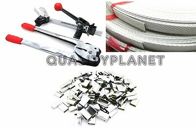STRAPPING TOOL Complete Kit + Metal Seals + 4 Poly Strap Banding Roll Supply Set