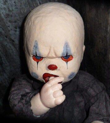 OOAK Horror Gothic Angry Clown Baby Doll