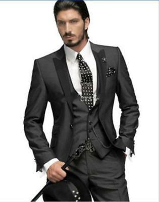 Black Jacket vest pants tie Customize Groom Tuxedos Bridegroom Man Suit G6324