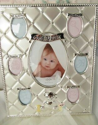 New Baby Lenox Silverplated Baby's 1St Year Picture Frame Nib Photo Teddy Bear