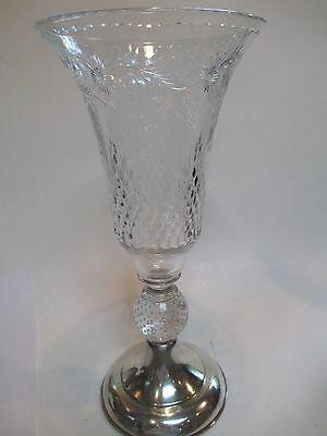 Vintage Hawkes Cut Glass Crystal Vase Sterling Base 14""