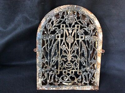 1880's Arched Iron Flowered Scroll Salvage Heat Grate