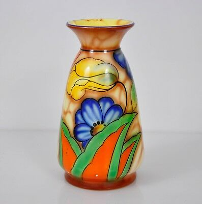Art Deco FALCON WARE 'Sheila' Pattern Hand Painted VASE Like Clarice Cliff