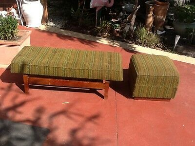 Retro vintage 1970s bench seat with small stool/ottoman 2 piece