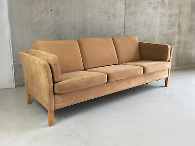 1960/70's Danish mid century 3 seater sofa with original faux suede upholstery