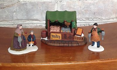 """Department 56, Dickens Village, """"Poultry Market"""", set of 3"""