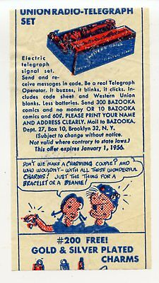 1955 Topps Bazooka Joe Gum Premium Wax Pack Insert Wrapper Comics 3 Rare Fleer
