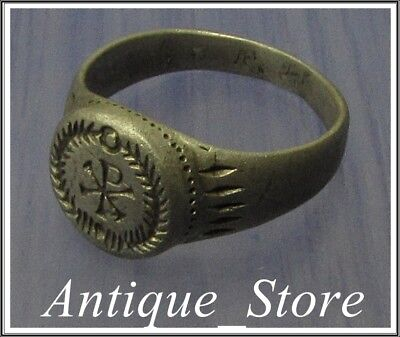 ** CHI-RHO ** Ancient Silver Roman Ring ** VERY RARE **
