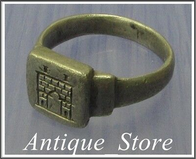 ** CASTRUM ** FORTRESS ** Ancient Silver Legionary Roman Ring ** VERY RARE **