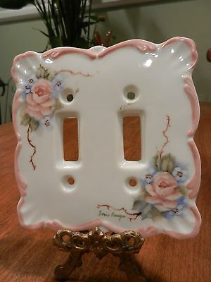 Vintage Light Switch Cover Porcelain Hand Painted Double Signed