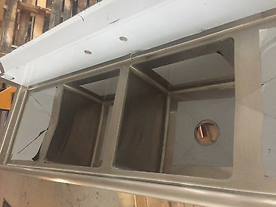 2 Compartment Stainless Steel Sink w/ Left & Right Drainboards