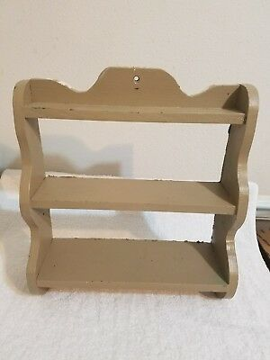 Vintage Wood Spice Rack Two Tier - Wall Hanging --- Painted