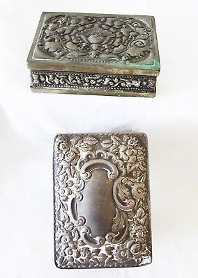 1900 UK Chester Sterling Silver & SE Asian Silver Alloy Repousse Motif Box (Yir)