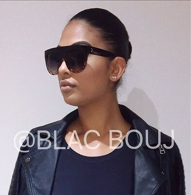 Celine flat top inspired leopard and black oversized womens sunglasses