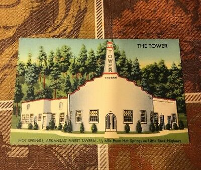 Tower Club Tavern Hot Springs Arkansas Postcard Illegal Casino Gambling Unused