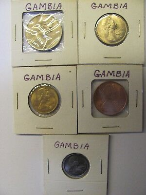 Lot of 5 GAMBIA coins  1 & 2 Shillings/6 & 3 Pence/1 Penny - 1966 - UNCIRCULATED
