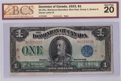 1923 DOMINION OF CANADA $1 DOLLAR DC-25c McCAVOUR SAUNDERS H578328 GRADED VF20