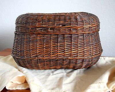 Antique Primitive Hinged Lid Wicker Woven Basket Very Old