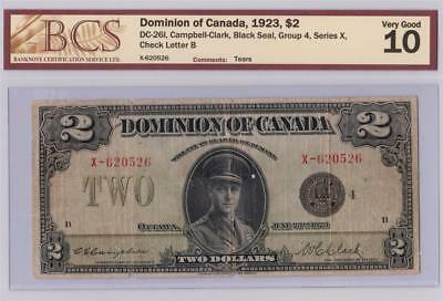 1923 Dominion Of Canada $2 Two Dollar Dc-26I Campbell Clark X620526 Graded Vg10