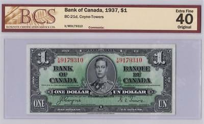 1937 BANK OF CANADA $1 ONE DOLLAR BC-21d COYNE TOWERS X/M9179310 GRADED EF40