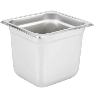 "1/6 Size NSF 2.7 Qt. Stainless Steel Steam Table / Hotel Pan - 6"" Deep"