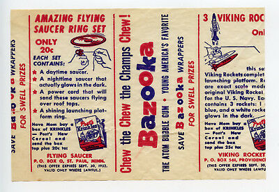 1952 Topps Bazooka Gum Premium Insert Wrapper Post Krinkles Flying Saucer Ring