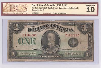 1923 DOMINION OF CANADA $1 ONE DOLLAR DC-25o CAMPBELL CLARK F1162265 GRADED VG10