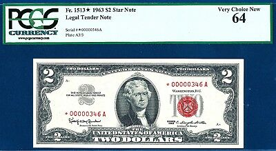 1963 $2 Red Seal Legal Tender Star Note Very Low Serial Number  ( *00000346A )