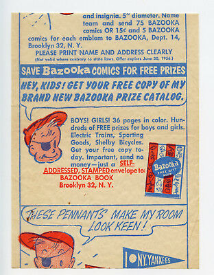 1954 Topps Bazooka Gum Premium Insert Wrapper Pennants Joe Gift Book Fleer Comic
