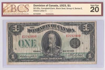 1923 DOMINION OF CANADA $1 ONE DOLLAR DC-25o CAMPBELL CLARK E2742000 GRADED VF20