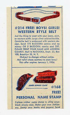 1955 Topps Bazooka Gum Premium Insert Wax Pack Wrapper Card Western Belt Fleer