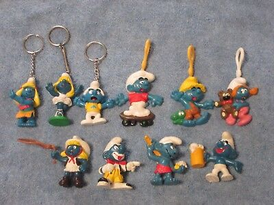 Smurfs Collectables Lot O  10 PVC Key Chains and Figurines