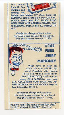 1955 Topps Bazooka Gum Premium Insert Wax Pack Wrapper Card Jerry Mahoney Fleer