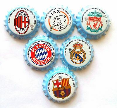 Champions League Set Of 6 Bottle Caps  Kronkorken Pivo Plastiny