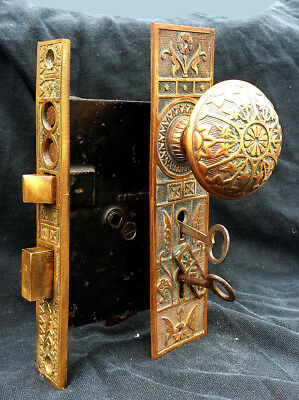 Antique Vintage Eastlake Door Entry Exterior Lockset Knob Plate Lock Set Key