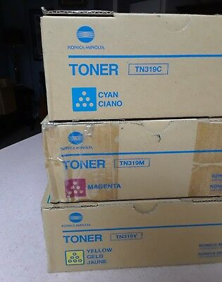 Genuine Konica Minolta TN319 CMY Toner Set for Bizhub C360, c220