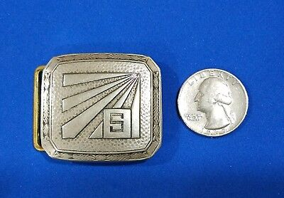 """Vintage Engraved Silver Plated """"s"""" Belt Buckle By Pioneer , Art Deco Style"""