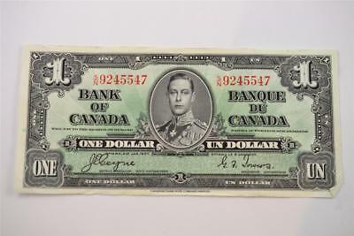1937 Bank Of Canada $1 One Dollar Bill. S/n9245547 Free Combined Shipping