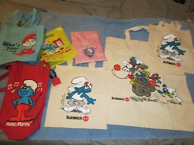 Smurfs Collectables Lot 1G  7 Assorted Carrying Bags Canvas Plastic + Nice Lot