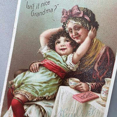 1897 Pink Wrapper Vanilla HUYLERS CHOCOLATE Cocoa Victorian Advertsng TRADE CARD